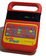 A photograph of a speak and spell toy