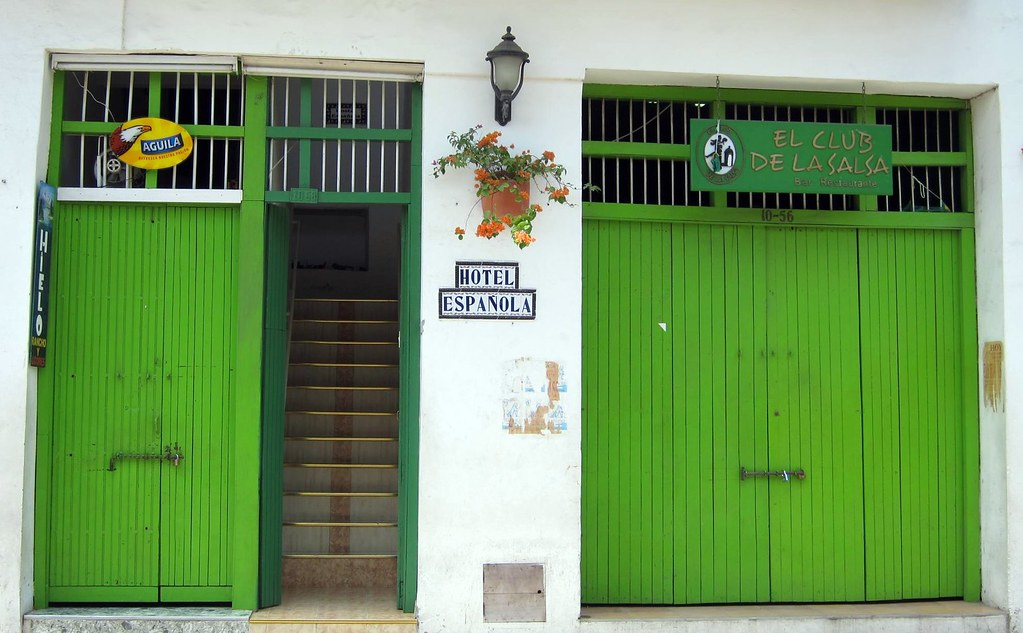 I was struck by the vibrance of the matching green doors of this hotel and salsa club as I was walking down Calle de Media Luna.