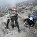 Kilimanjaro Day 4 - Julienne scrambles up Barranco Wall