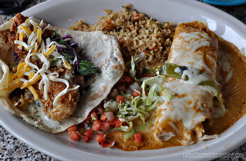 "Chuy""s ~ Fish Taco and Spicy Chicken Enchilada"