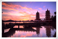 8163     Traditional Temple Culture .    -      - Sunrise & Reflection of The Dragon and Tiger Pagodas .  Zuoying . Lotus-Pond . Kaohsiung City . Landscape of TAIWAN (deepblue68) Tags: old city light sky colour reflection tower art water colors sign architecture clouds sunrise buildings landscape photography design photo scenery village dragon natural outdoor earth tiger traditional religion chinese culture taiwan explore kaohsiung environment lantern formosa      cultural pagodas 2010  archi        lotuspond      zuoying         wannian    apathwayhomecom deepblue68