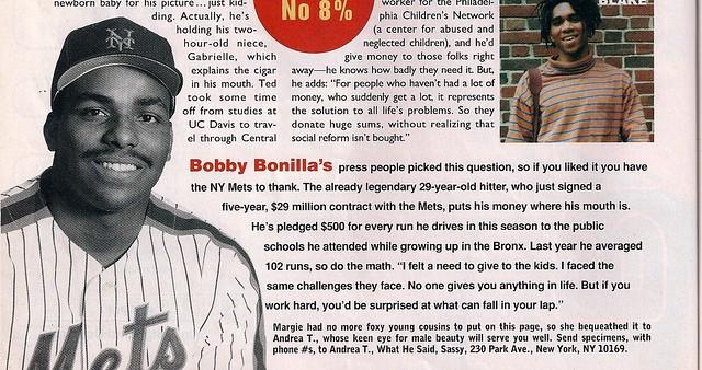 Bobby Bonilla in Sassy magazine, 1992