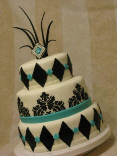 teal and black 3 tiered wedding cake 011
