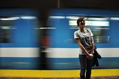 moving (missportilla) Tags: woman canada girl smile subway moving still pretty metro quebec montreal femme young move belle fille sourire mouvement lamarre jeune bouge figé éloïse