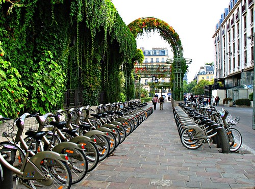 Velib bikes near les Halles in Paris (c2010 FK Benfield)