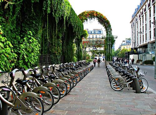 Velib bikes near les Halles in Paris (c2010 FK Benfield)