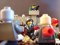 """Get Inside The Perimeter!"" (Colonel Ghostman) Tags: blood bricks legos sniper horror guns zombies perimeter mercs mocpages mercenarie apocoplypse"