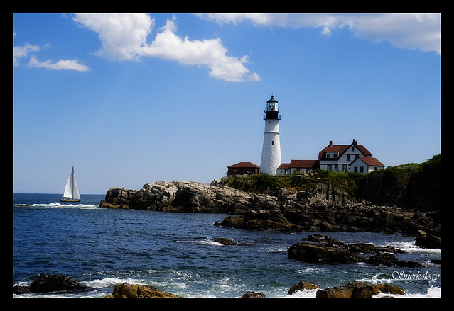 The inevitable shot of the Portland Head Light - now with more sailboat!