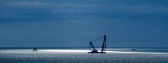 Floating crane in the spotlight (billnbenj) Tags: crane cumbria turbine barrow windturbine windfarm irishsea floatingcrane walneyisland