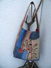 "MY NEW BAG - ""The wren"" (monaw2008) Tags: music house tree bird leaves quilt handmade linen jeans fabric denim scraps patchwork recycling applique reused handstitching monaw monaw2008"