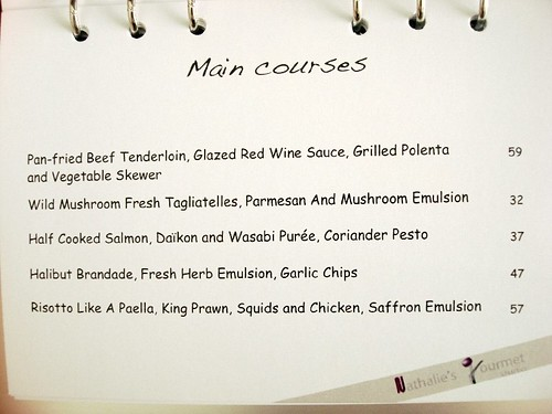 nathalies Gourmet studio aug menu 1