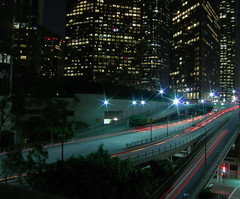Downtown LA light trails + another in comment (Ianmoran1970) Tags: road light red black building night grey la losangeles trails coolpix wellsfargo offices ianmoran ianmoran1970