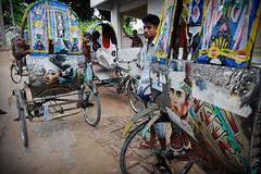 Rickshaws (Leonid Plotkin) Tags: streetart man art asia rickshaw bangladesh cyclerickshaw bicyclerickshaw rickshawart rajshahi