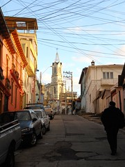 Colourful Street (mikecogh) Tags: chile street tower church silhouette valparaiso colourful slope telegraphwires
