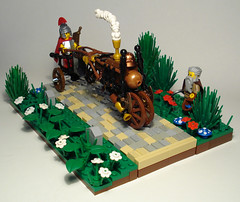 Steam_chariot (captainsmog) Tags: flower tree mushroom grass lego roman smoke helmet steam copper spike druid custom vignette chariot legionary paved steampunk mocs moc