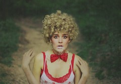 bouts of insanity. (karrah.kobus) Tags: red portrait me water girl forest self crazy woods strawberries bowtie wig insanity 365 spitting omgcrazyshroooooms