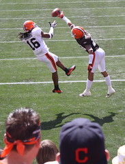 Josh Cribbs V. Joe Haden (The Cleveland Kid) Tags: ohio orange brown white sports sport football cleveland clevelandbrowns scrimmage trainingcamp familyfunday clevelandbrownsstadium clevelandrocks brownsfans