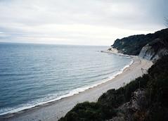 (long may she rain ) Tags: ocean sea beach 35mm coast seaside sand lofi cliffs coastline yashica lymeregis cliffside yashicat3 englishcoast englishseaside