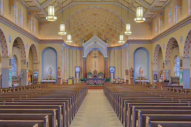 Saint Anthony Roman Catholic Church, in Lemay, Missouri, USA - nave