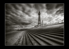 Tower view.. (jetbluestone) Tags: tower beach clouds mono steps blackpool hdr hdraward