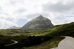 Sil Gharbh (Meredith Lewis) Tags: road uk greatbritain cliff cloud sunlight mountain mountains sunshine clouds scotland highlands europe cloudy unitedkingdom britain sunny bluesky cliffs highland gb sutherland quinag spideancinich a894 silgharbh