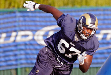 George Selvie on the Rams' practice field. Photo by Stlouisrams.com