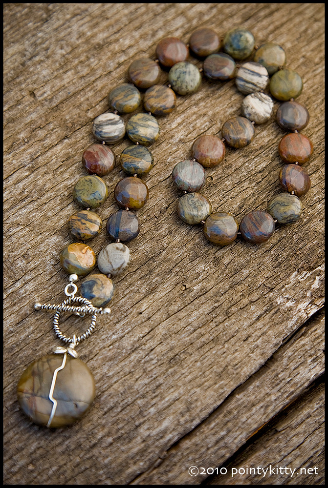 Sucked Back Up Into the Stars - sterling, silver leaf jasper and Owyhee picture jasper necklace