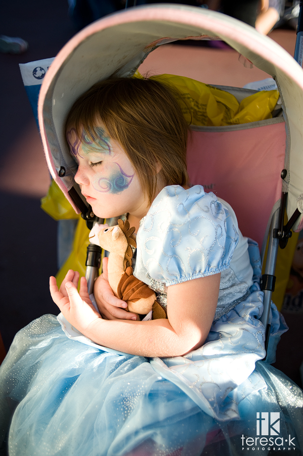 Sweet princess asleep in the stroller at Disneyland, Teresa K photography