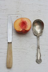 Peach, Knife, Spoon (Gordana AM) Tags: pink summer orange ontario canada fruit outside juicy healthy natural many memories harvest peach tasty august bowl offer crop windsor peaches local pickyourown share peachy enamel flavourful breskva breskve lepiafgeo