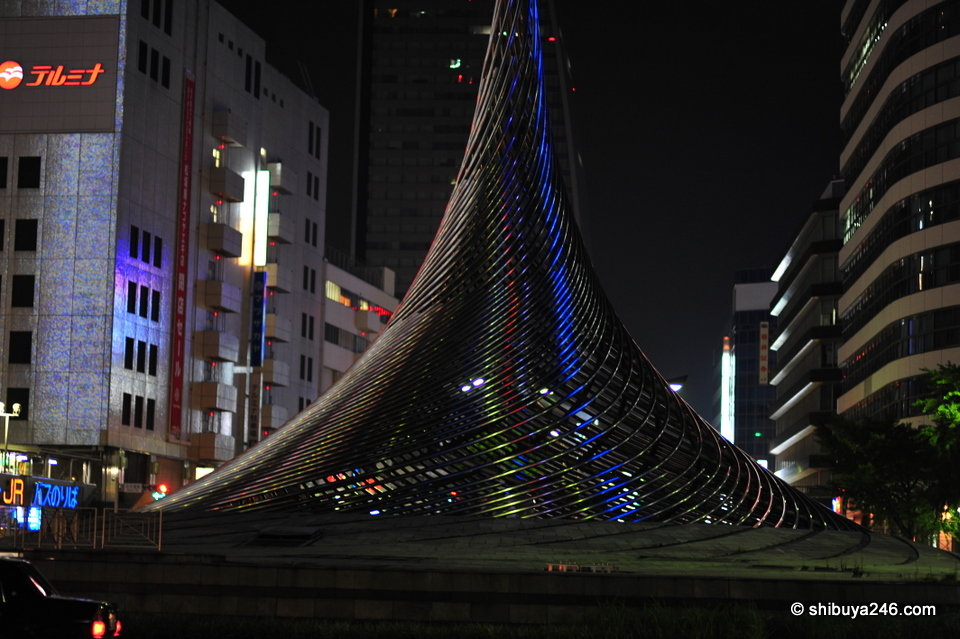 This structure in front of the station caught my eye at night with a nice blue reflection