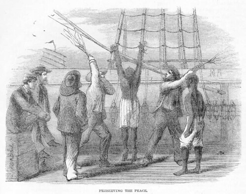 """Chinese indentured servant (""""Coolie"""") being whipped aboard ship"""