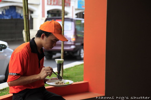 A3 worker eating