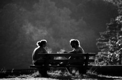 Friends (skubmic) Tags: friends light summer blackandwhite bw hot silhouette forest bench relaxing guys smoking bwartaward skubmic
