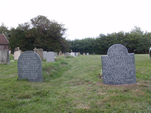 Pair of Headstones from behind, in Ashbrittle Churchyard, Somerset.