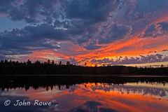 Painted Sky (John I Rowe) Tags: sunset summer reflection landscape newengland newhampshire nh hdr longpond errolnh greatnorthwoods