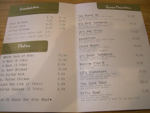CD's Smoke Pit menu