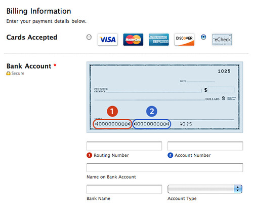 eCheck UI on Payment Forms
