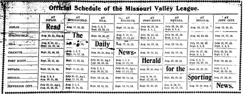1902 Joplin Miners' Missouri Valley League schedule