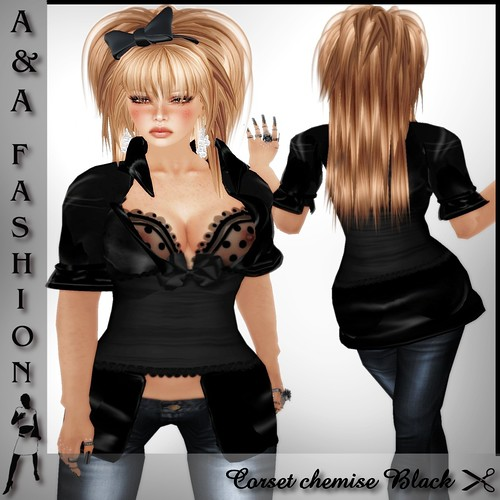 A&A Fashion Corset chemise Black