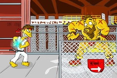Street Simpsons (Will Stopinski) Tags: street game fight fighter russia humor cartoon ken simpsons will springfield charge ilustrao desenho ryu streetfighter capcom riu luta hadouken zanguief stopinski
