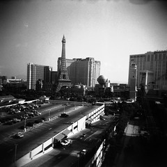 Paris, Las Vegas | Holga (REALJimBob) Tags: bw holiday paris film hotel us holga lasvegas nevada 120film hp5 ilfordhp5plus camera:model=holga120n