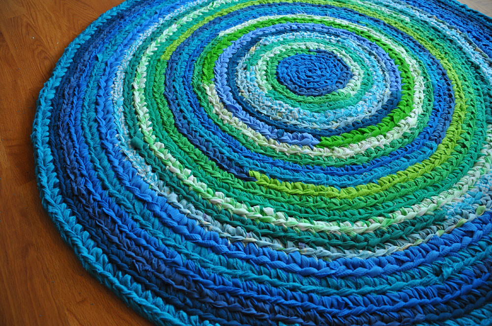 Blue Green Crochet Rug