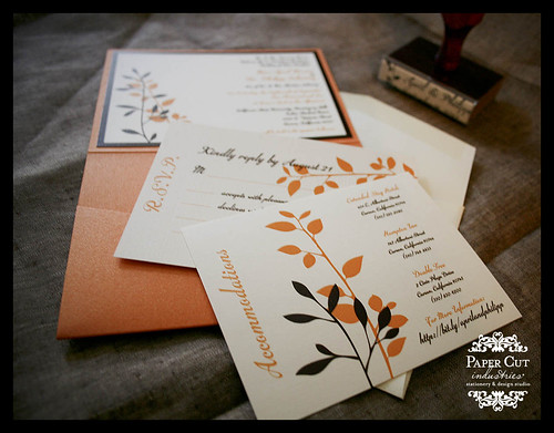 Orange Brown and Ivory Fall Wedding Invitations