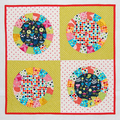 doll quilt DONE!!! (Alexia Abegg) Tags: circle quilt bright handmade swap dqs9