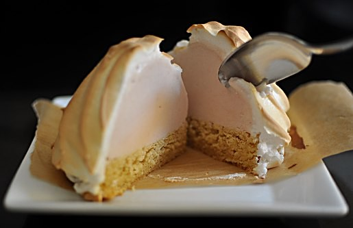 ... Baked Alaska: White Nectarine Ice Cream with Brown Butter Pound Cake