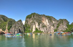 Floating Village, Halong Bay (badzmanaois) Tags: green restaurant fishing junk rocks vietnamese village fishermen floating peaceful vietnam exotic zen limestone waters serene karst halongbay greensea unescoheritagesite gettyimagessingaporeq2