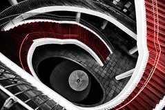 Color Key Week  Red Stairs (Sprengben [why not get a friend]) Tags: world china city wedding summer sky blackandwhite music newyork paris art monochrome animal japan skyline clouds contrast skyscraper cat observation hongkong zoo tokyo bay harbor amazing rainbow nikon singapore asia ship artistic gorgeous awesome tiger watch hamburg elevator lion style divine international zebra stunning metropolis charming foreign fabulous hdr parfume englandlondon colorkey engaging travelphotography d90  photomatix  patricksskind jeanbaptistegrenouille dasparfm perfumethestoryofamurderer travellight emotionale whitebengaltigers d3s geruchssinn wwwsprengbendewwwflickrcomphotossprengben sprengbenurban