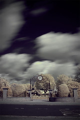 IR clock (Simon in Southend) Tags: road trees sky clock wall clouds square ir moving movement gate long exposure time foliage hedge infrared bushes essex southend southendonsea r72 prittlewell