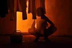 (Eloise S.) Tags: shadow orange girl silhouette warm morocco laundry sefrou roftop