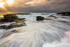 Long Reef Wave (-yury-) Tags: ocean sky seascape water sunrise landscape flow rocks sydney dramatic wave australia swell longreef